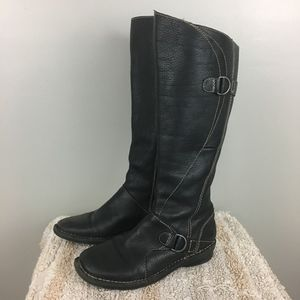 Clarks Black Leather Soft Sided Riding Boots
